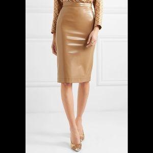 Burberry sand vinyl faux leather midi skirt
